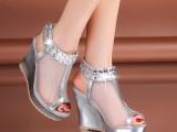 真皮凉鞋2014春夏新款松糕跟女鞋凉鞋高级网纱坡跟鞋凉靴一件代发