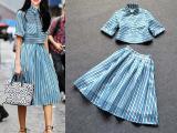 欧洲站2015春夏新款明星同款 景甜蓝色条纹上衣+大摆半身裙套装