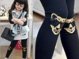 青岛产地童装 2014年春款新品韩版2色卡通刺绣童装打底裤