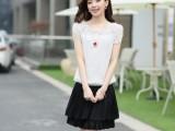 2014 夏季高端品牌新品 韩国女装一件代发短袖波点百褶连衣裙