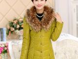 批发2015冬款狐狸毛领中老年女装棉衣长款修身时尚妈妈装棉衣保暖