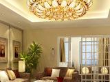 新款七彩小树叶LED水晶灯豪华圆形金色聚宝盆水晶灯客厅吸顶灯