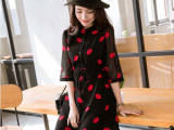 2015春装新款 韩版时尚红唇连衣裙修身雪纺衫显瘦打底裙女装