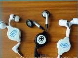 入耳式伸缩耳机  双拉定制滴胶logo耳机 厂家批发伸缩盒耳机