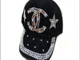 厂家直销双C玻璃美钻兔毛棒球帽女士冬季保暖新款五星帽子批发