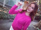 韩国圆领复古麻花毛衣新款毛衣短款毛衣套头加厚打底毛衣女式秋冬