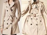 外贸原单尾货出口韩国 英伦风 B家经典双排扣长款女式风衣  秋冬