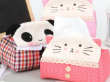 超萌可爱布艺熊猫纸巾盒 家居纸巾套 创意卡通毛绒纸巾抽