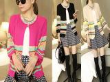 2014秋装韩版新款女宽松开衫七分袖毛衣针织衫外套复古撞色小毛衣