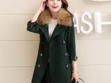 欧美冬装 麂皮绒中长款貉子毛呢大衣棉衣 批发代发日韩女装外套