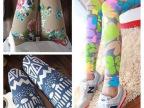 厂家批发2014春夏新款韩国精梳棉舒适高弹力大码花朵打底裤九分裤