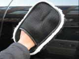 单面夹指羊绒擦车手套 洗车清洁用品 擦车用海绵 汽车清洗手套