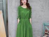 2015秋装棉麻连衣裙长袖中长款蕾丝绣花拼接修身亚麻连衣裙