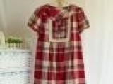 批发供应外贸 复古棉布格子泡泡袖小A型娃娃款衬衫裙连衣裙A10L