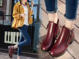 2016秋季新款欧美百搭粗跟短靴马丁靴中