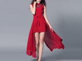 欧洲站 2015夏季新款欧美高端圆领项链无袖纯色网纱不规则连衣裙