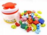 木制大号串珠批发 水果动物 儿童早教益智大块积木玩具 百变插珠