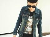 2014新款潮男外套男士韩版修身牛仔外套男夹克双口袋外套
