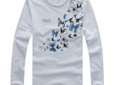 衬衣中国风T恤 男士蝴蝶印花长袖T恤 潮男28