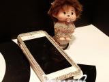 超爆新款可爱的蒙奇奇挂绳手机壳水钻手机套苹果5代贴钻皮套