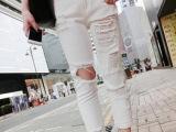 韩版女装2014新款休闲直筒宽松白色破洞长裤 夏季女