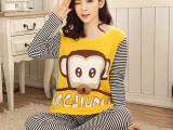 新款秋季睡衣女条纹猴秋季女士棉料长袖睡衣套装家居服原厂直销