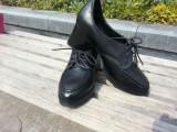 2014春款单鞋 英伦时尚牛漆皮尖头粗跟深口系带女鞋