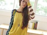 韩版新品秋装 圆点条纹不一致袖时尚胸前口袋宽松拼色毛衣女 批发