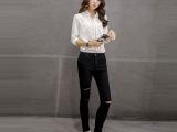 东大门2015秋款女式薄款长裤膝盖破洞黑色牛仔裤大码铅笔小脚裤
