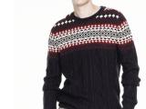 休闲男装 2017秋冬新品毛衣男圆领套头宽松拼色男式针织毛衫