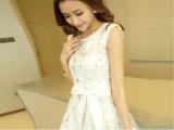 2014新款韩版女装淑女气质蕾丝欧根纱蓬蓬裙连衣裙