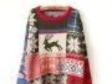 2013春新款女韩版宽松撞色打底衫套头加厚复古圣诞小鹿毛衣