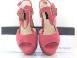 2014女鞋新款真皮鱼嘴高跟凉鞋头层牛皮防水台粗跟女士高跟凉鞋