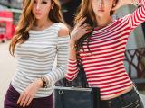 2014秋装新款修身露肩上衣韩国长袖条纹T恤小衫女