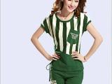 新款条纹显瘦短袖短裤大码女装夏季韩版休闲运动套装 女装