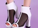 诗娅曼迪2014夏季欧美牛皮网纱凉靴超高跟粗跟真皮鱼嘴凉鞋网靴子