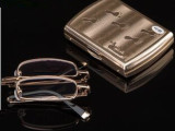 高档护眼眼镜 可折叠玻璃片 时尚抗疲劳 超轻超清晰金属架老花镜