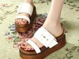 2014广州T台货号369-1 大量现货超中跟女鞋双重厚底女鞋