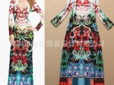 2015 女装新款 欧美波西米亚加长款印花弹力针织修身连衣裙 批