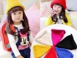 帽子批发 儿童帽子秋冬针织毛线帽宝宝单色卷边尖尖帽子奶嘴帽