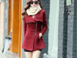 2014秋冬新款外套 韩版翻领拉链拼接时尚修身毛呢中长款女装风衣