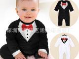 2015厂家直销最新款绅士黑白毛圈哈衣 婴儿连体衣 春款爬服连身