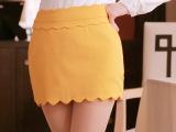 韩版春装新款 波浪边修身包臀短裙半身裙 OL职业包裙 百搭小短裙