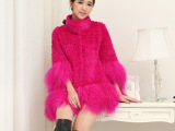 新款兔毛皮草外套中长款整皮兔毛剪毛拼接滩羊毛厂家直销特价处理