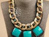 欧美夸张饰品 流行高档假领子 蓝宝石项链 欧美夸张水晶锁骨链 女