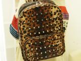 奇星彩厂家批发2013新款韩版豹纹铆钉双肩包糖果色男女背包书包潮