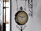 欧式田园铁艺时尚挂钟铁艺客厅做旧美观挂钟双面静音时钟厂家直销