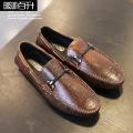 【新品】秋季韩版大牌擦色复古豆豆鞋男 男士真皮休闲鞋 一件起批