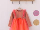 品牌童装 中小童 韩版外贸童彩条连衣裙 设计时尚甜美厂家直销