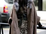 时尚毛毛领蝙蝠袖宽松大码毛衣外套